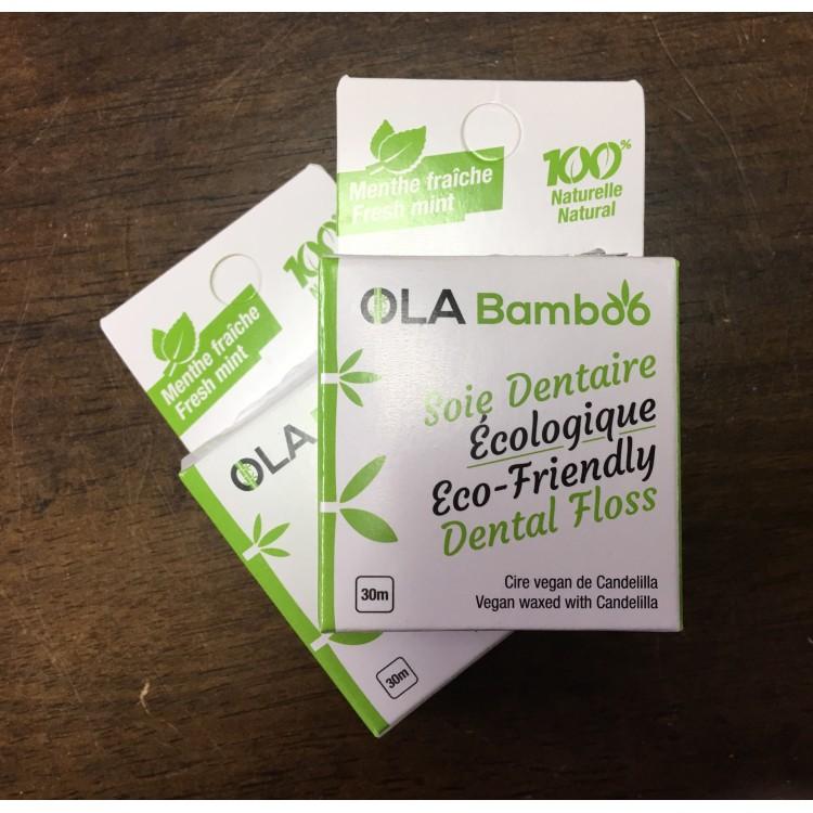 Soie dentaire écologique à la menthe, Ola Bamboo, 30m
