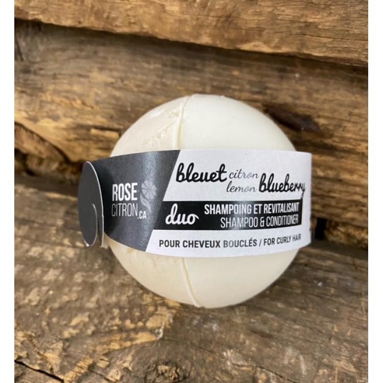 Duo shampoing et revitalisant solides, bleuet/citron pour cheveux bouclés, Rose Citron