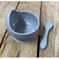 Bol en silicone gris  avec cuillère